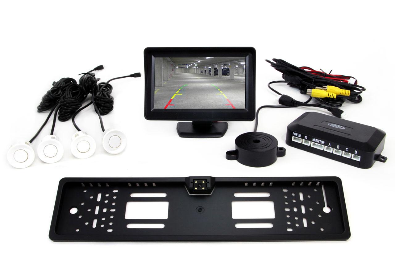 Sada asistentov parkovania 4 senzory biele TFT 4,3` s kamerou CAM-402 LED v podložke pod ŠPZ