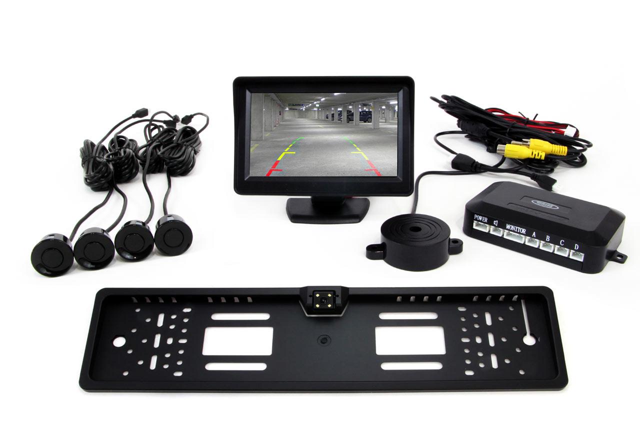 Sada asistentov parkovania 4 senzory čierne TFT 4,3` s kamerou CAM-402 podložke pod ŠPZ