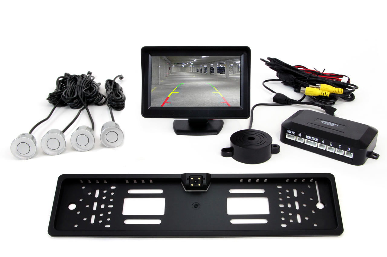 Sada asistentov parkovania 4 senzory strieborné TFT 4,3` s kamerou CAM-402 LED v podložke pod ŠPZ
