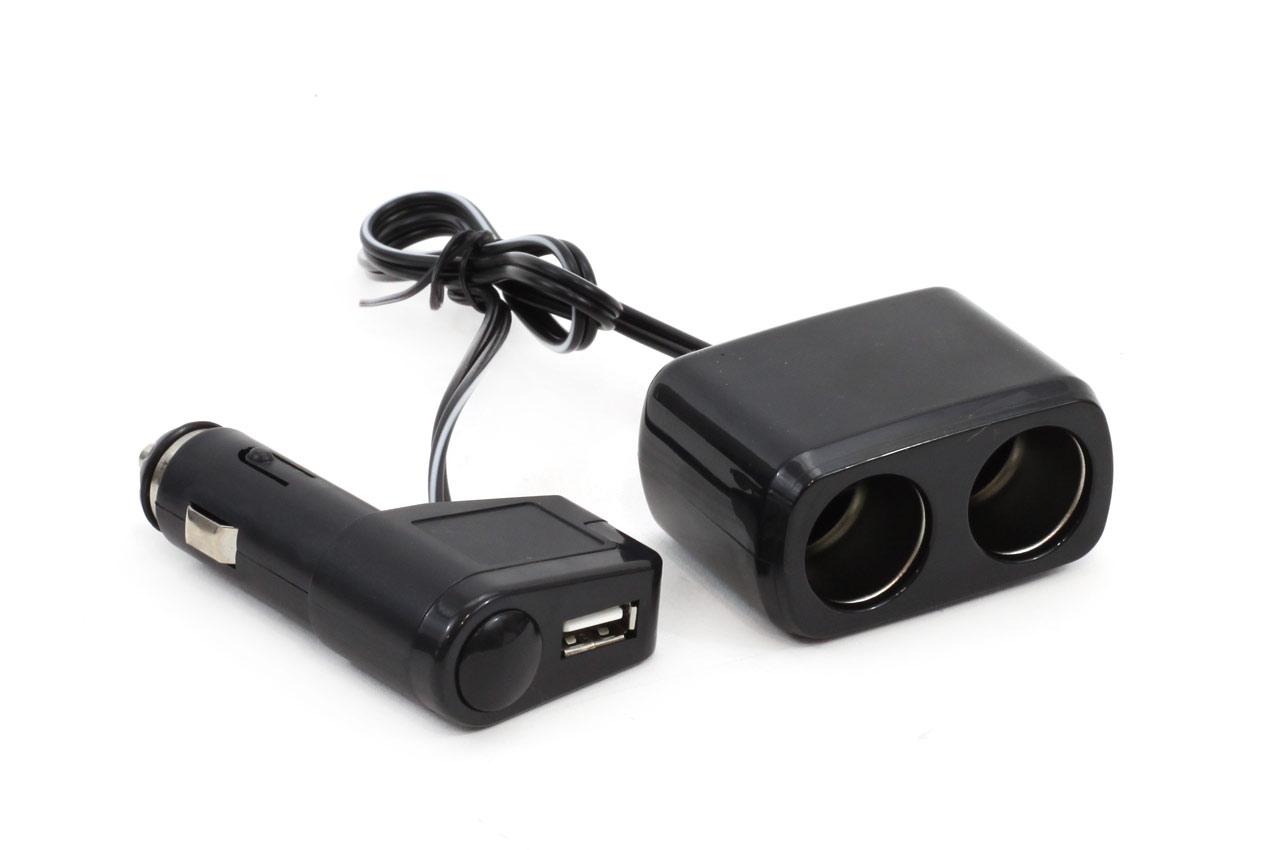 Rozdvojka autozapaľovača + USB SOC1