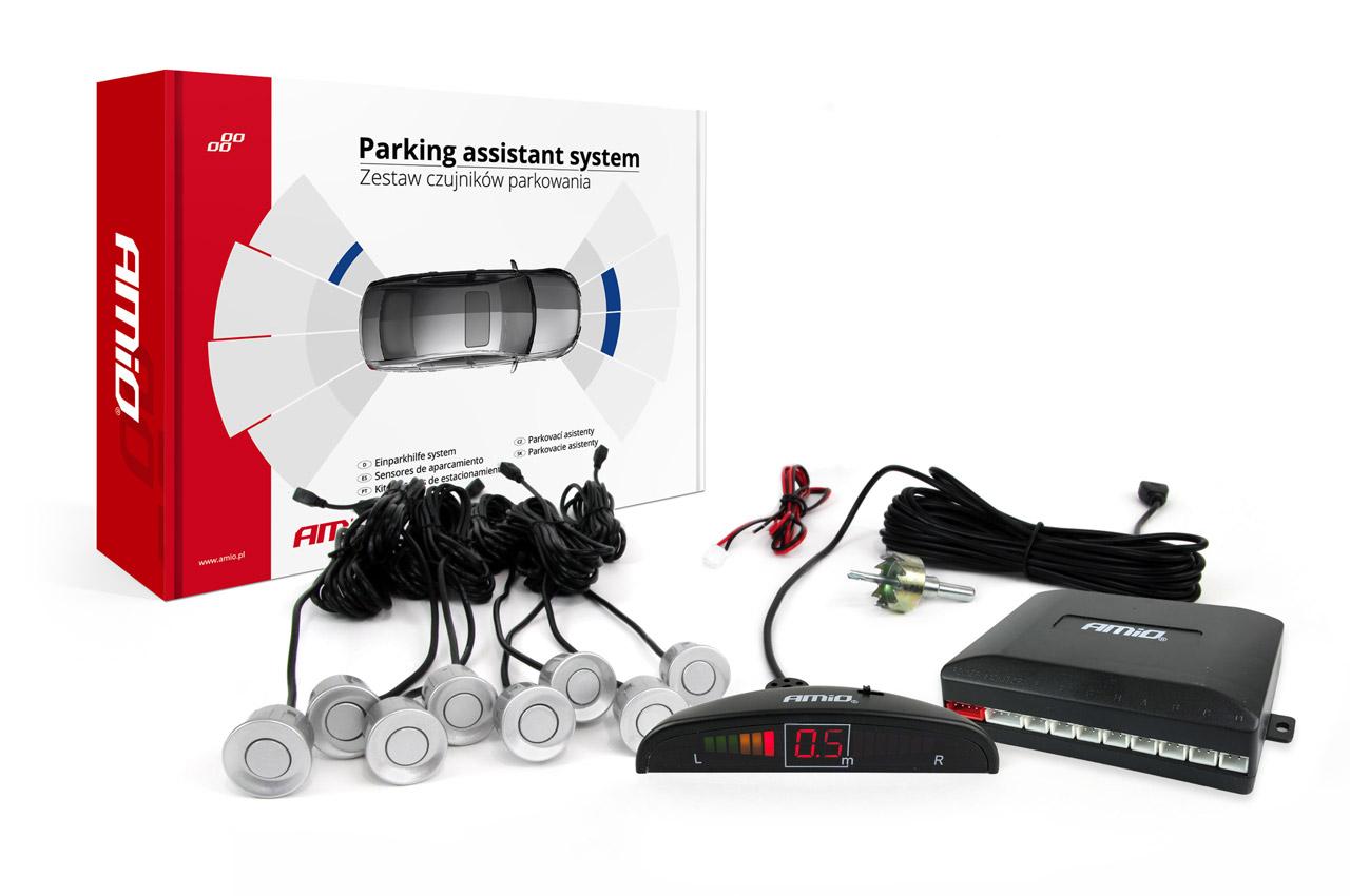 Sada asistentov parkovania LED 8 senzorov strieborných
