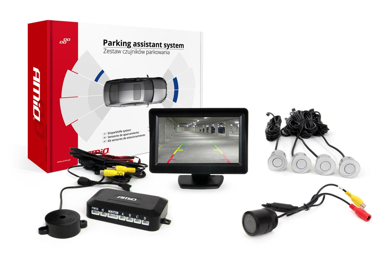 """Sada asistentov parkovania TFT 4,3"""" s kamerou HD-301-IR 4 senzory strieborné"""