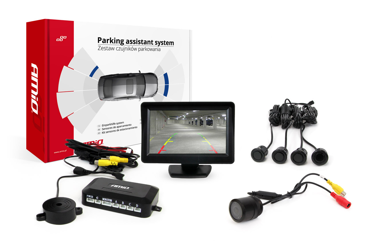 "Sada asistentov parkovania TFT 4,3"" s kamerou HD-301-IR 4 senzory čierna ""GOLD"""