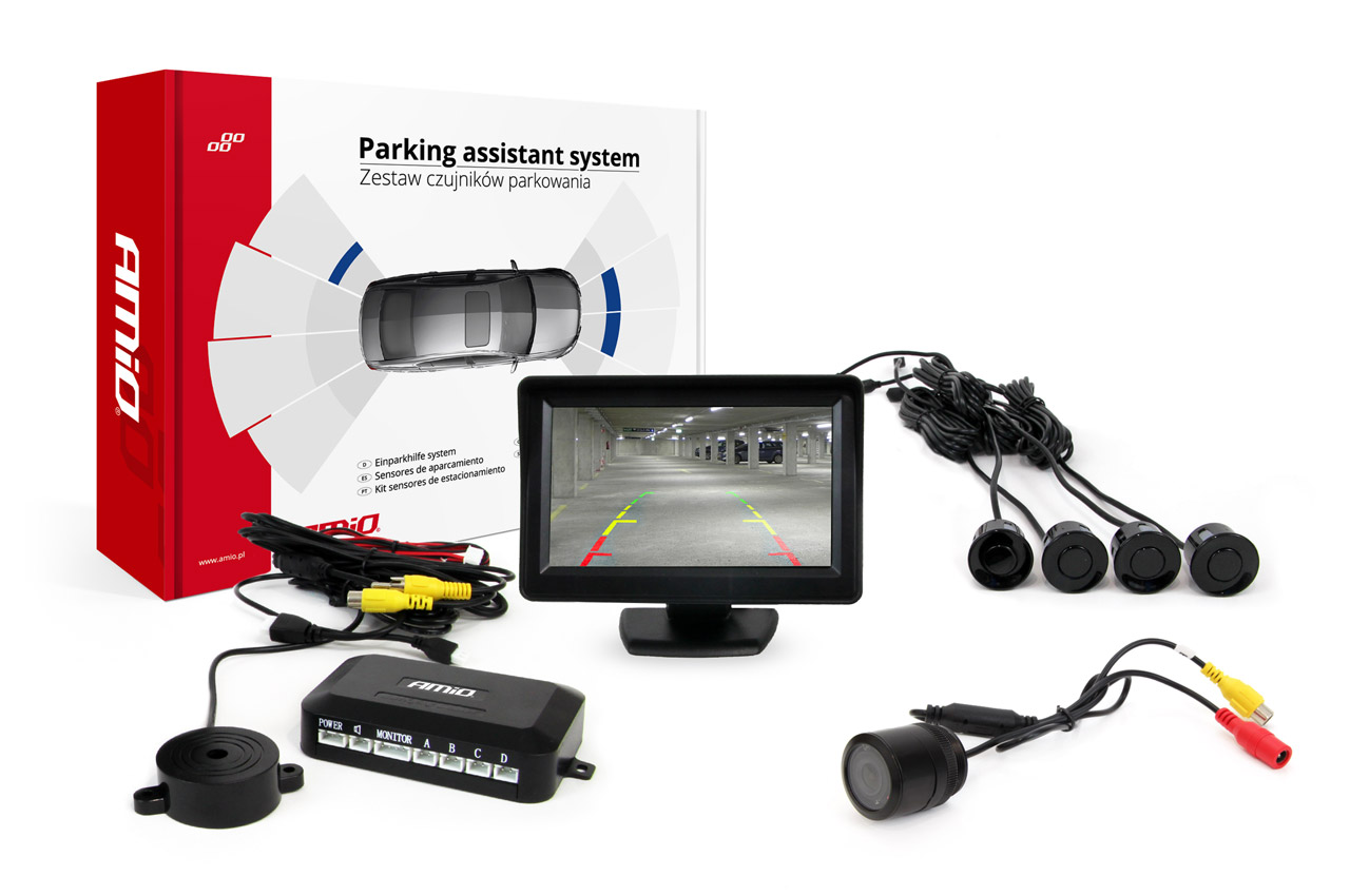 Sada asistentov parkovania 4 senzory čierne TFT 4,3` s kamerou night vision CAM-301 IR 28mm