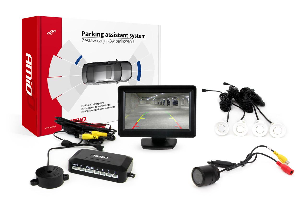"Sada asistentov parkovania TFT 4,3"" s kamerou HD-301-IR 4 senzory biele"
