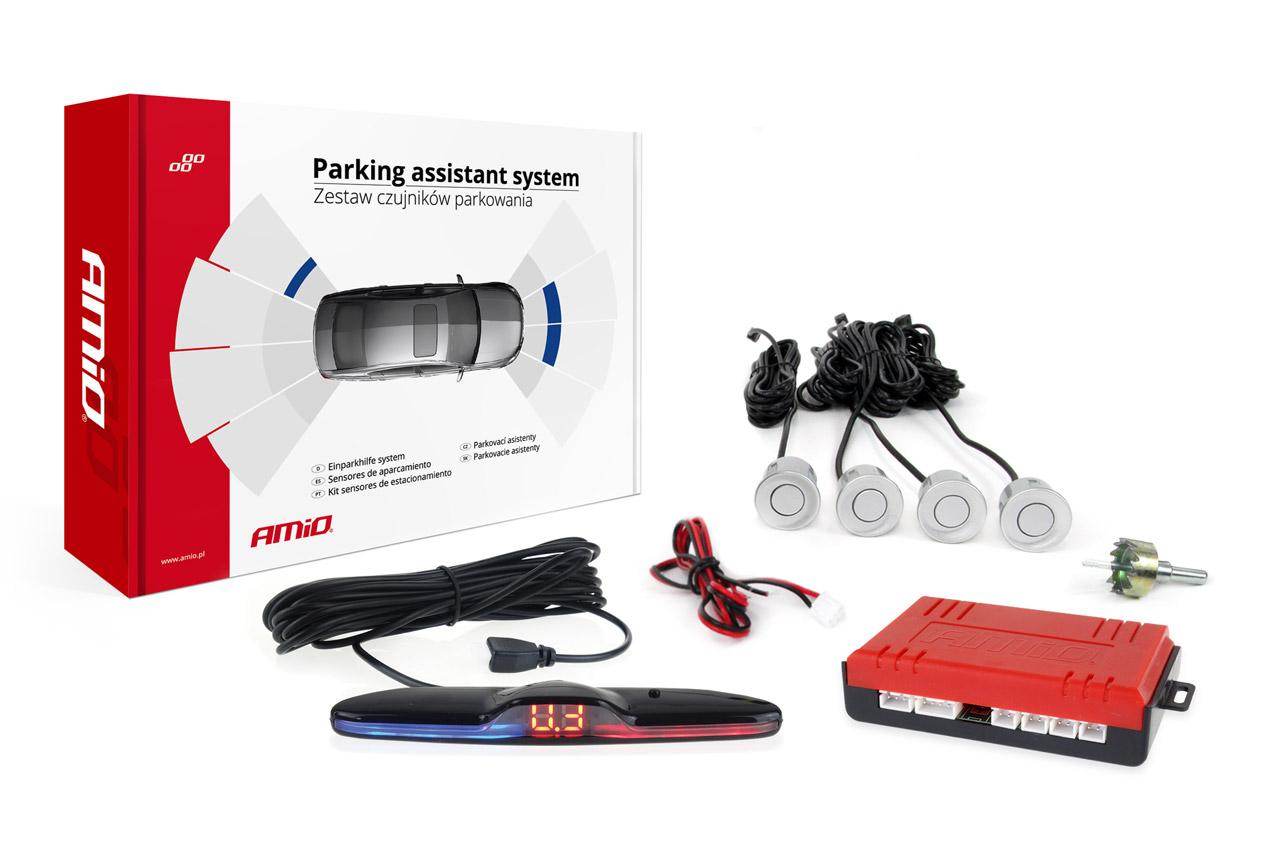 Asistenty parkovania MAX LED 4 senzory strieborné
