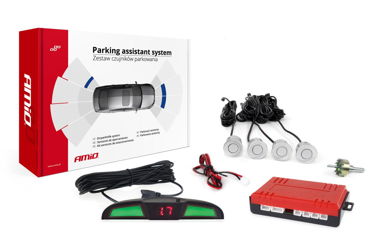 Asistenty parkovania LED COB 4 senzory strieborné