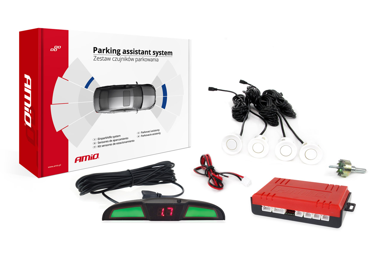 Asistenty parkovania LED 4 senzory biele