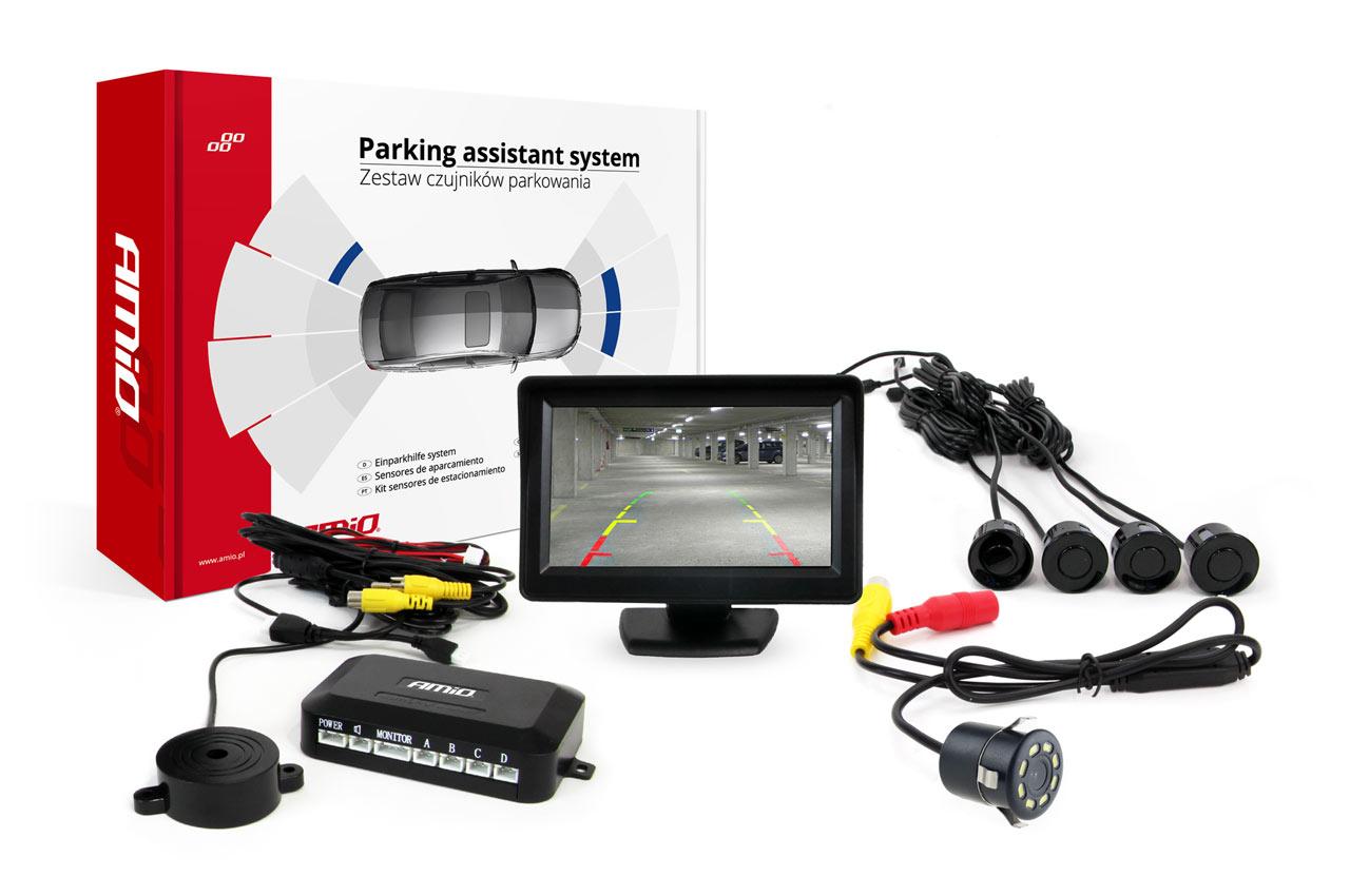Sada asistentov parkovania 4 senzory čierne TFT 4,3` s kamerou  CAM-308 LED 18mm