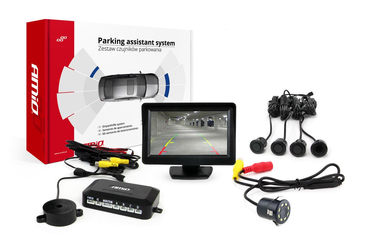Sada asistentov parkovania 4 senzory čierne GOLD 18mm TFT 4,3` s kamerou night vision CAM-301 LED 18mm
