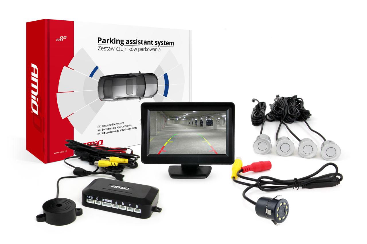 Sada asistentov parkovania 4 senzory strieborné TFT 4,3` s kamerou night vision CAM-308 LED 18mm
