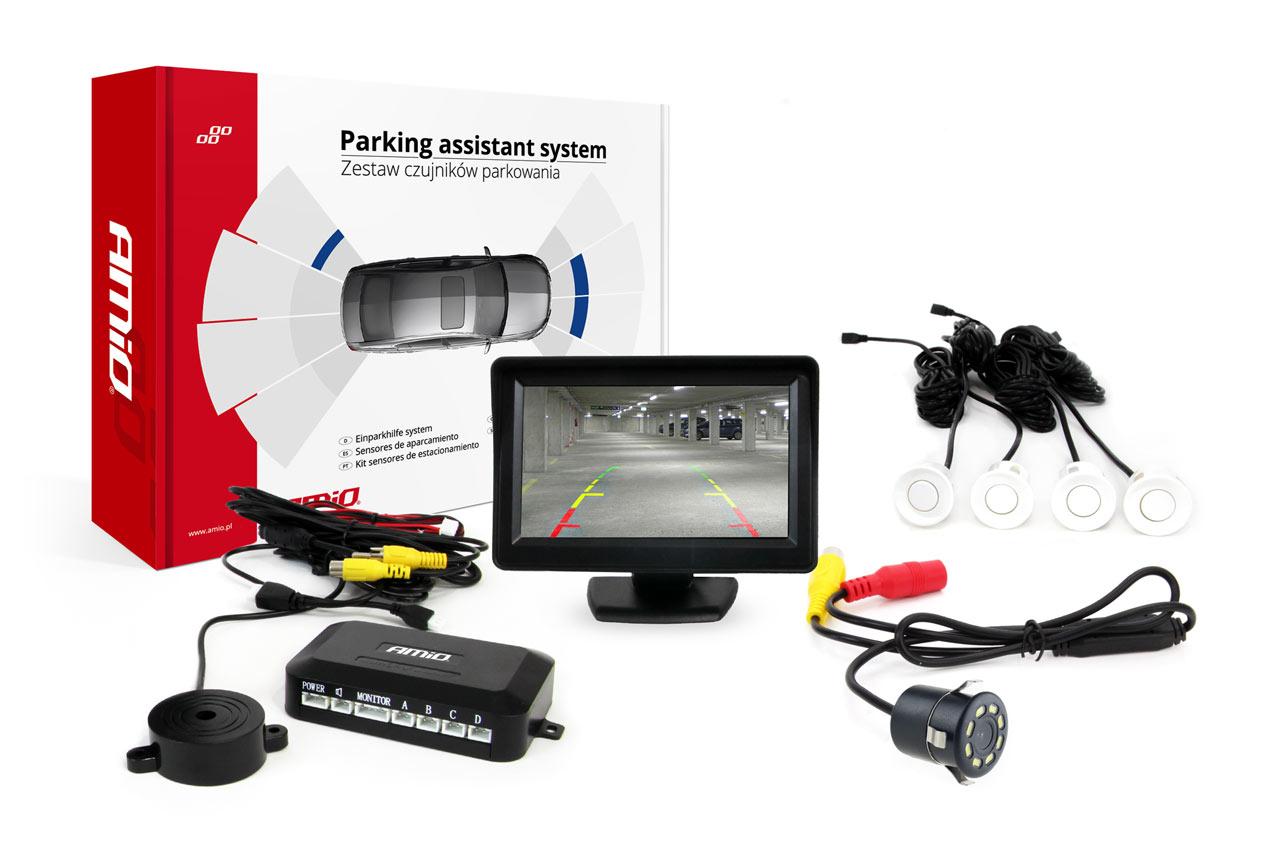 Sada asistentov parkovania 4 senzory biele TFT 4,3` s kamerou night vision  CAM-308 LED 18mm