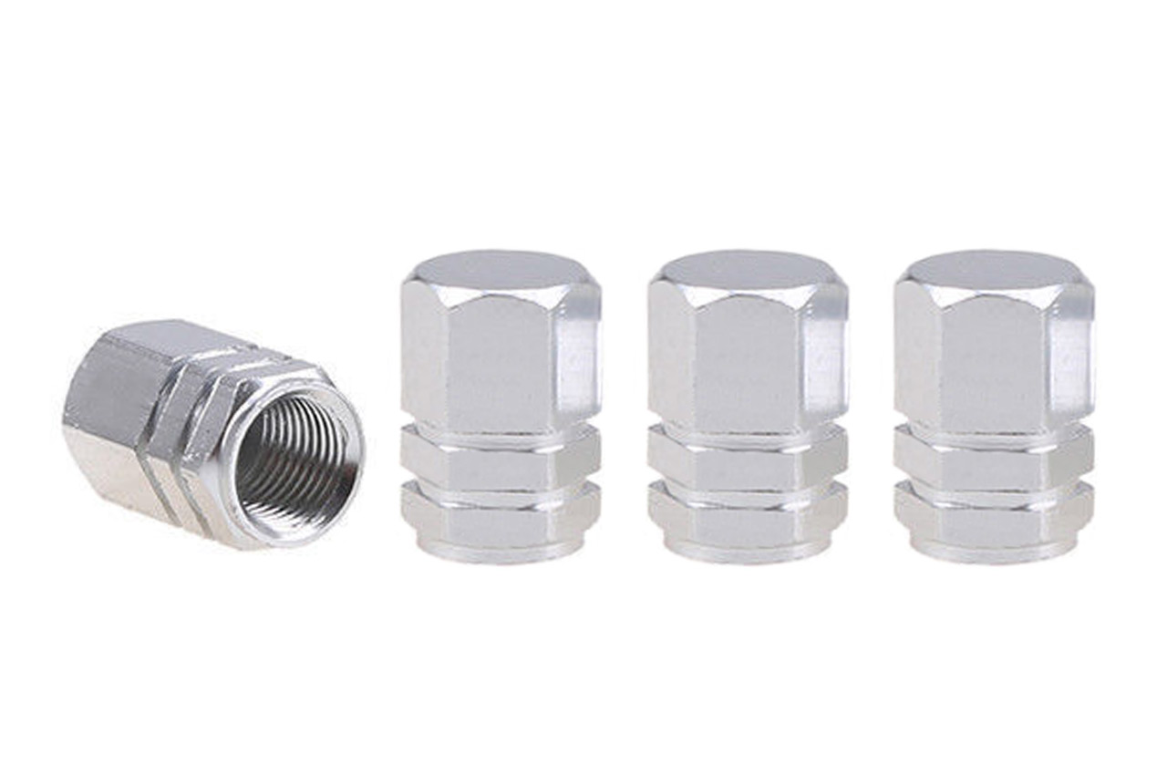 Hliníkové krytky na ventil strieborné 4 ks
