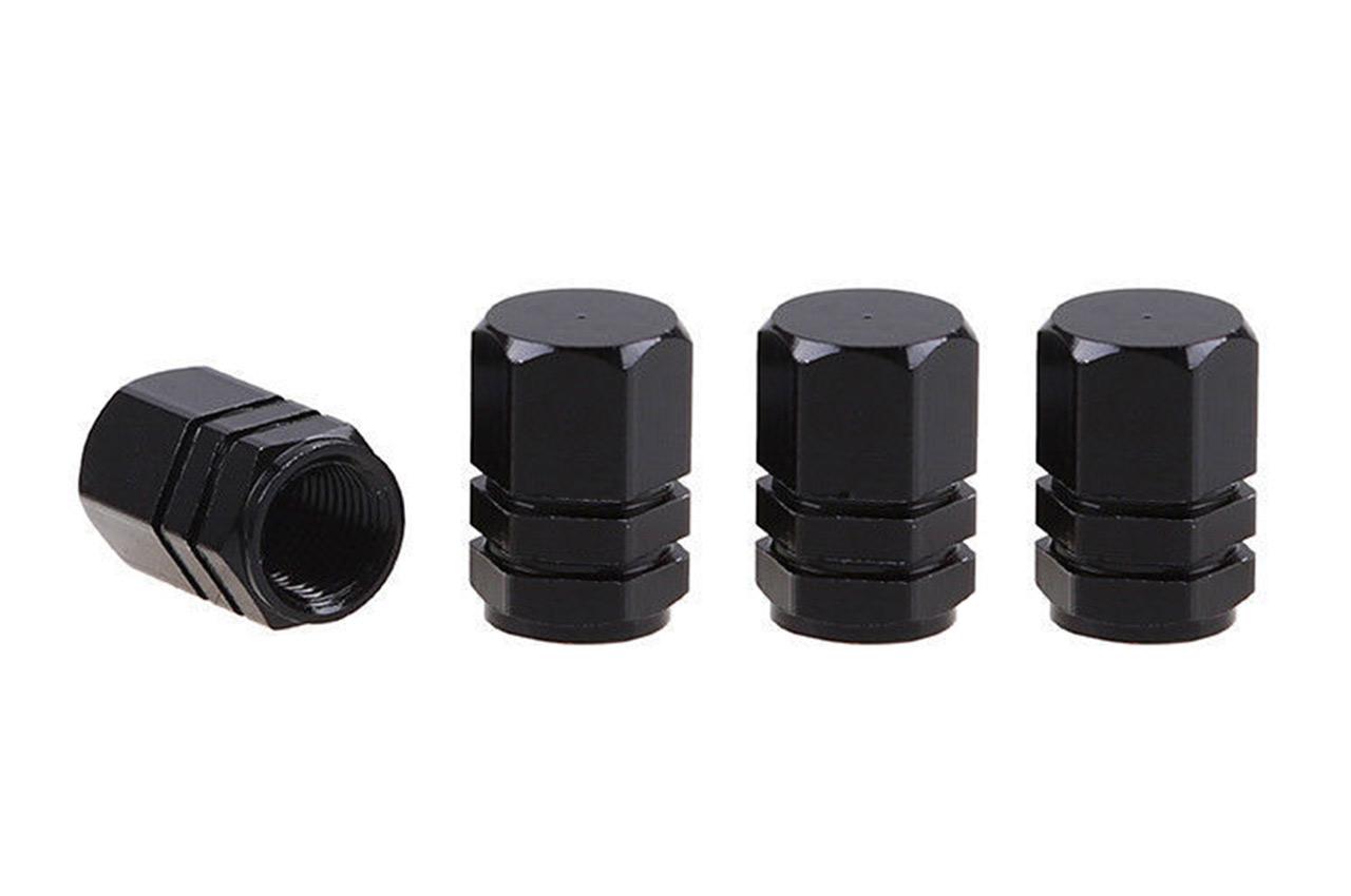 Hliníkové krytky na ventil čierne 4 ks