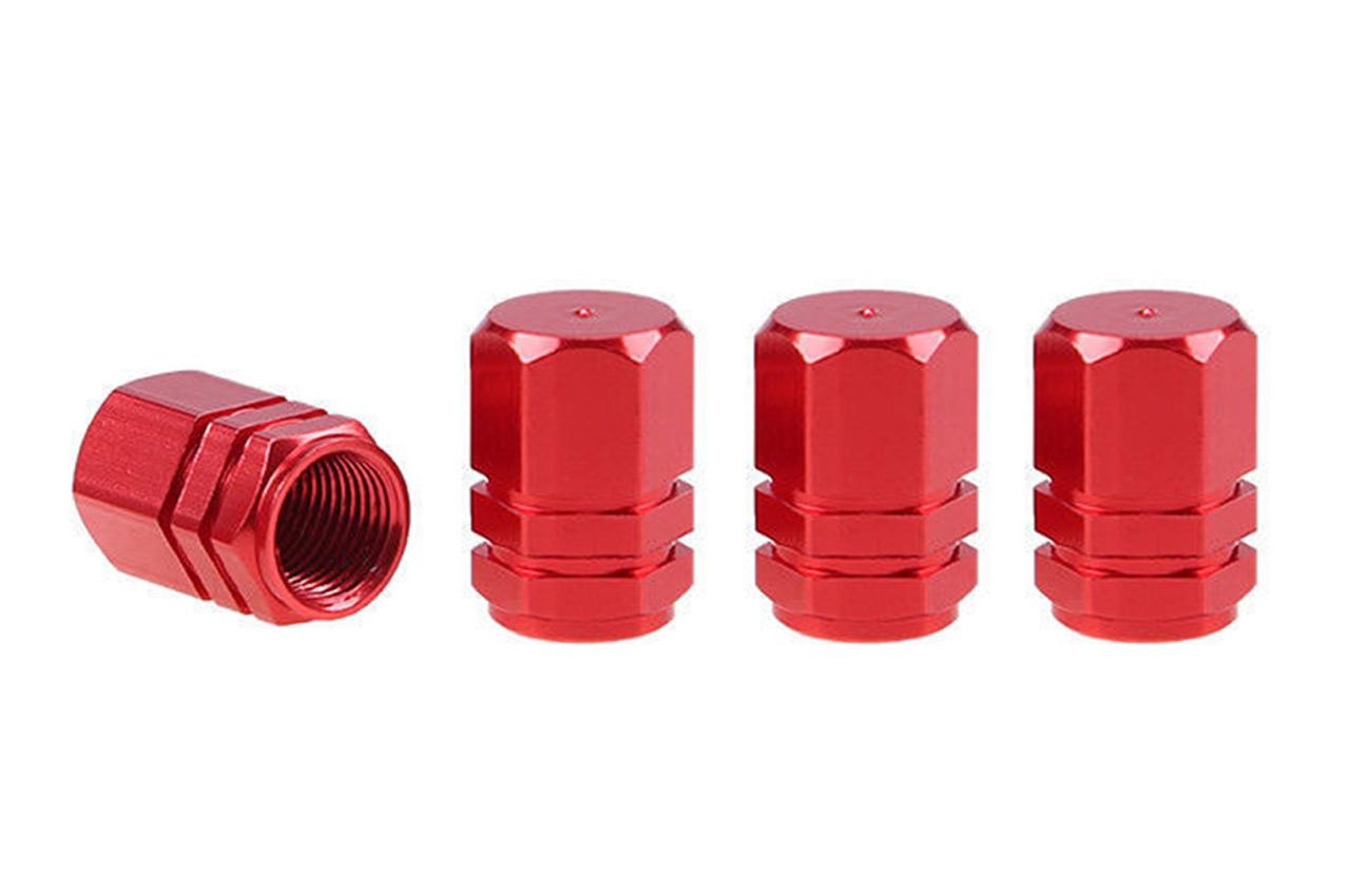Hliníkové krytky na ventil červené 4 ks