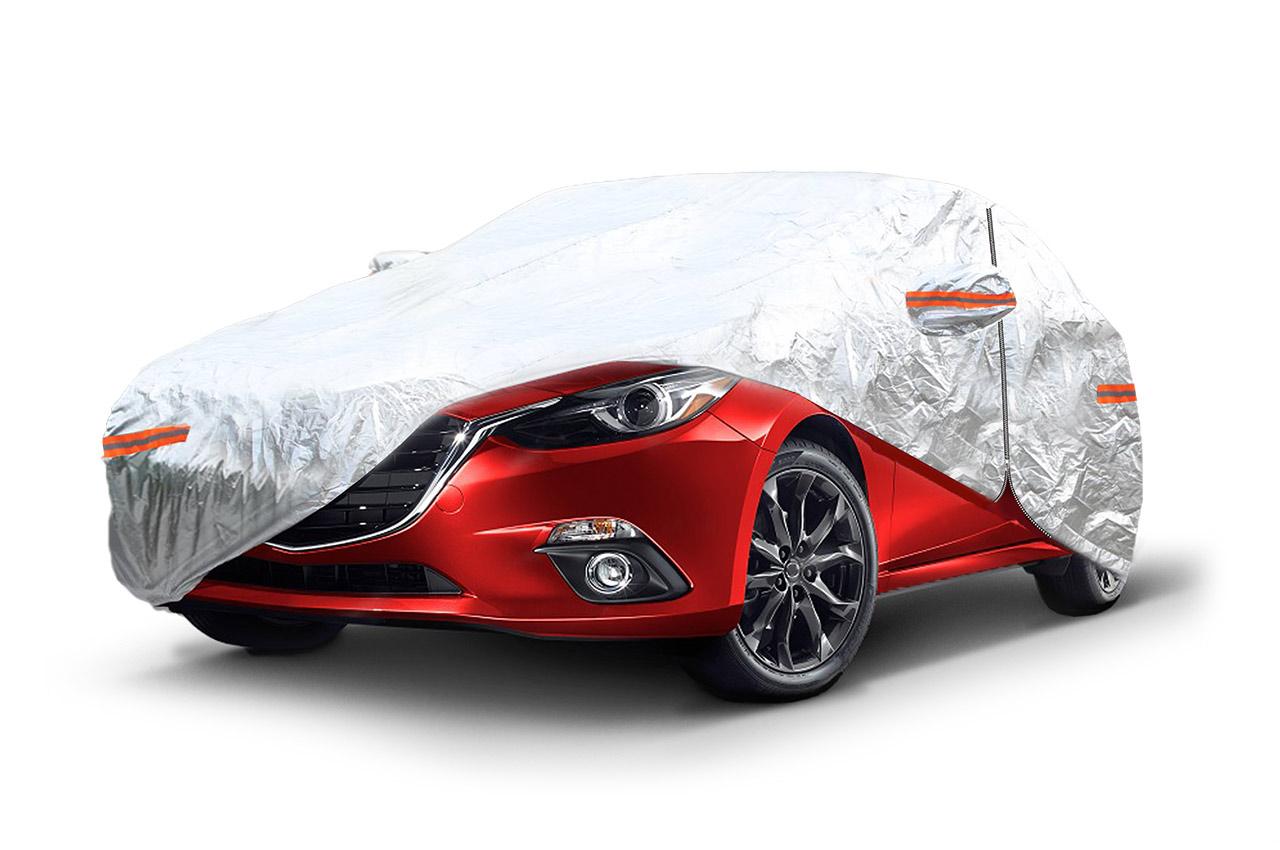 Autoplachta strieborná so zipsom, reflexná, veľkosť M, rozmery: 430x165x120cm